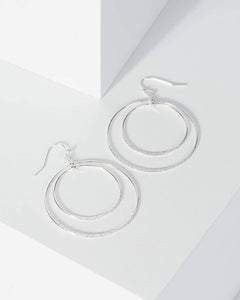 Colette by Colette Hayman Silver Two Circle Drop Earrings