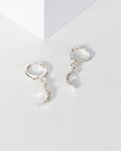 Colette by Colette Hayman White Gold Diamante Half Moon Charm Earrings