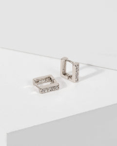 Colette by Colette Hayman White Gold Pave Square Hoop Earrings
