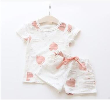 2pcs Summer Heart Printed Set