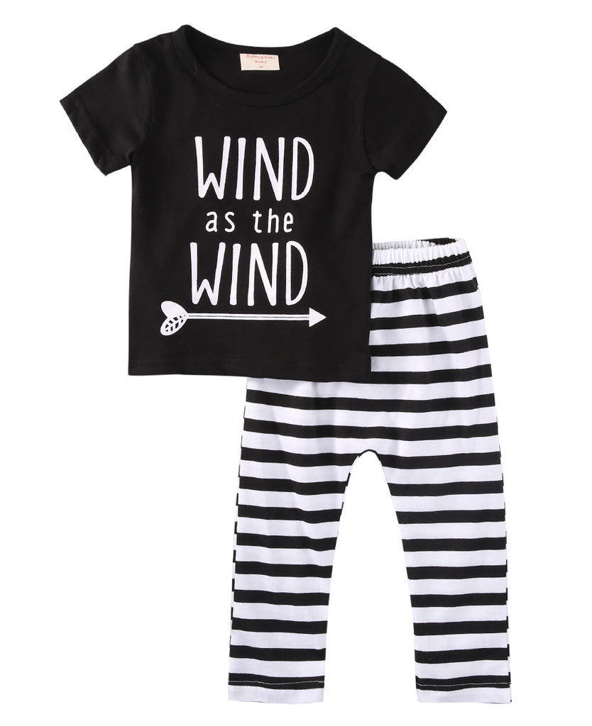 Wind As the wind Striped Baby Set