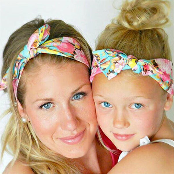 Mommy and Me  Floral Rabbit Ears Headband