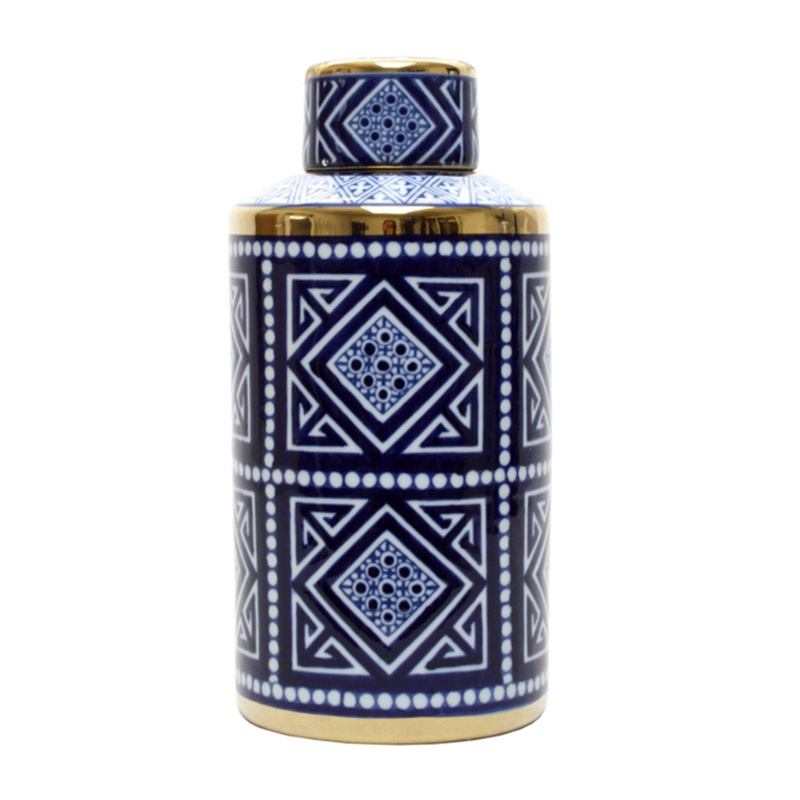 Jar Blue and White Aztec Round 15 cm