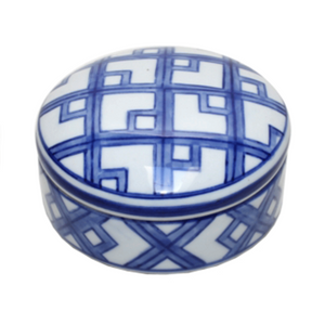 Trinket Box Blue and White Round #2