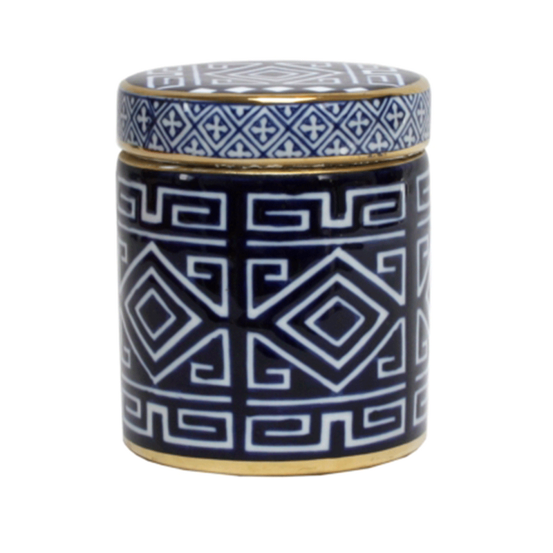 Jar Blue and White Aztec Round