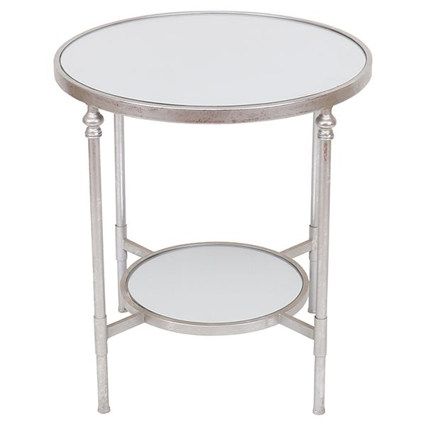 Mirrored Silver Side Table with Shelf