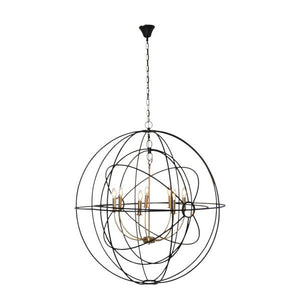 Large Black and Brass Iron Orb Pendant