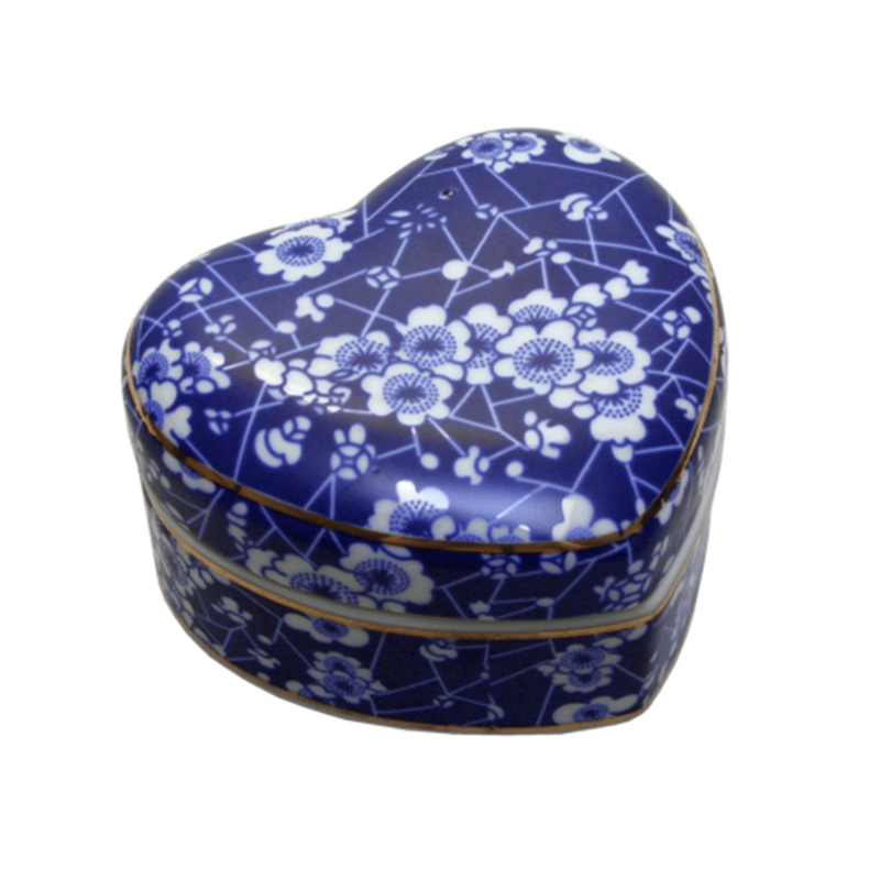 Blue and White Trinket Box Blossom Heart