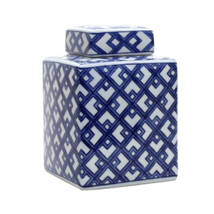 Jar Blue and White Lattice Square