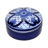 Trinket Box Blue and White Round #1