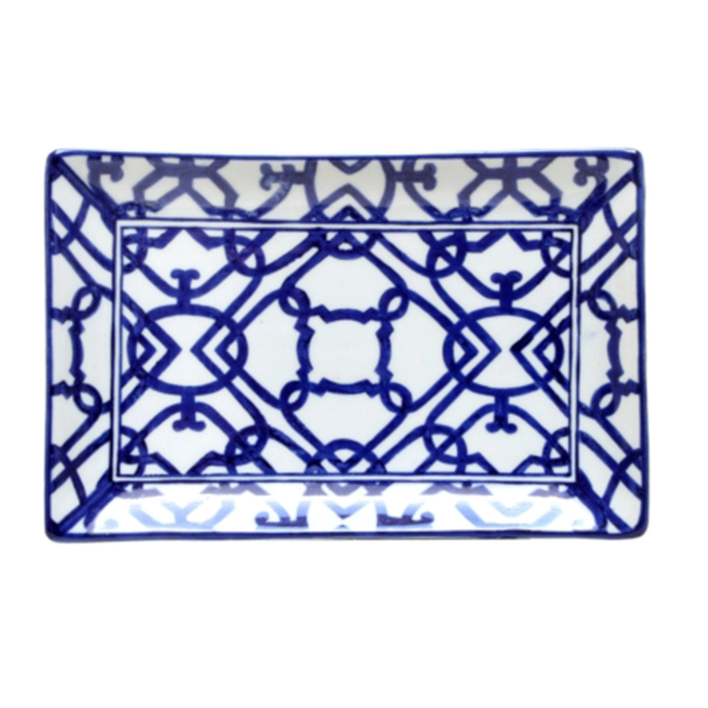 Plate Blue and White Rectangle #2