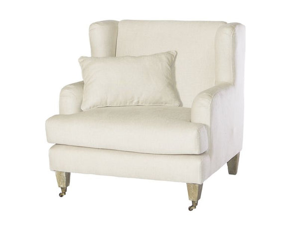 Beige Wide Armchair With Cushion