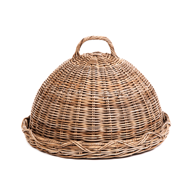 Round Serving Tray Rattan with Lid