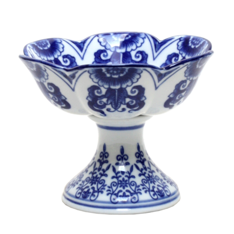 Blue and White Compote Footed