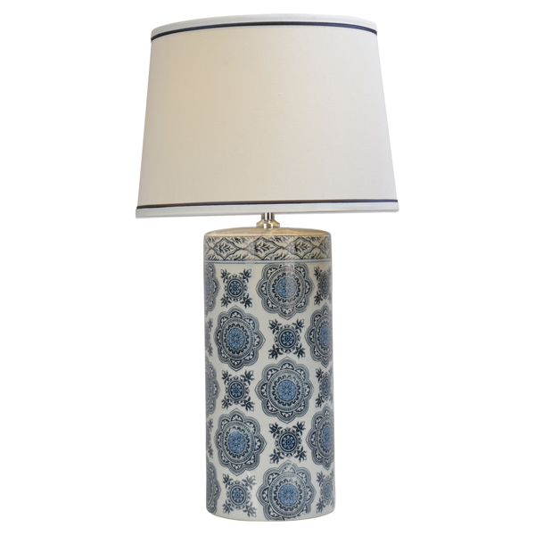 Blue Ceramic Lamp White Blue Trim Shade