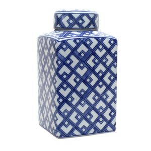 Jar Blue and White Lattice Square 30cm