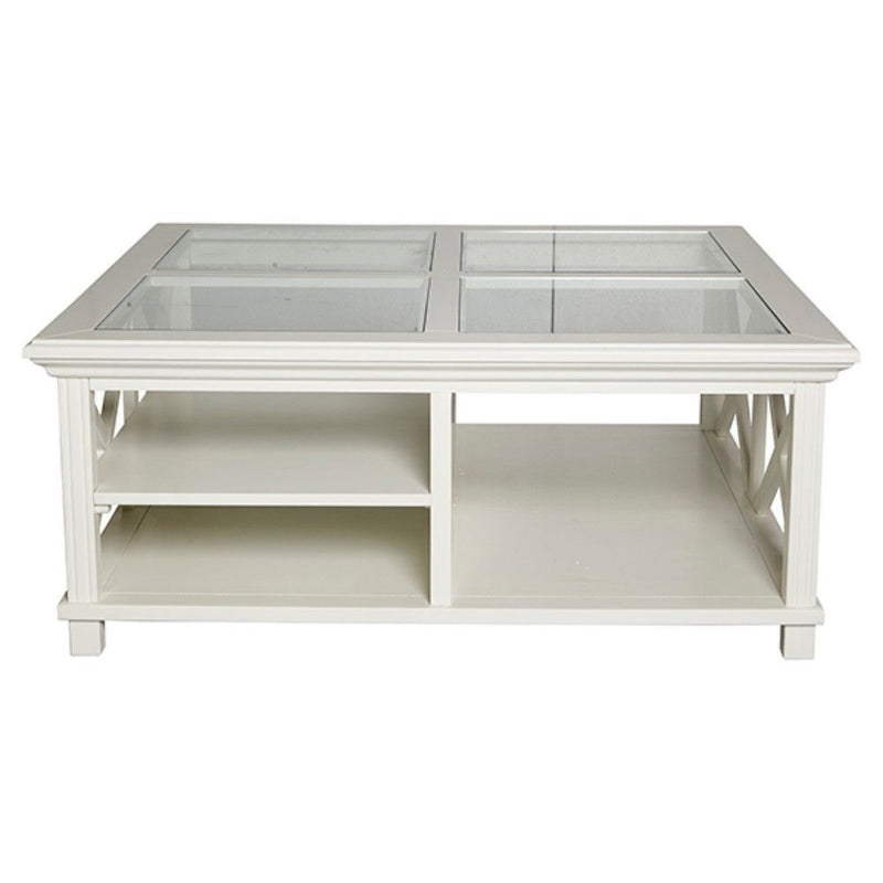 Sorrento Large Glass Coffee Table White
