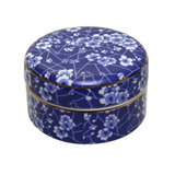 Blue and White Trinket Box Blossom Round