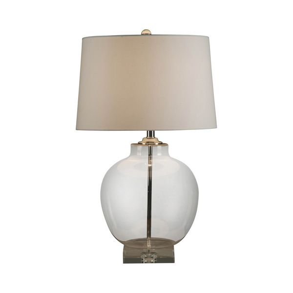 Glass Urn Lamp with White Linen Shade