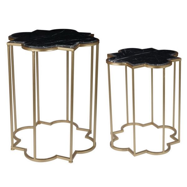 Set 2 Gold and Black Marble Tables
