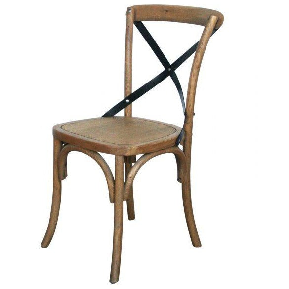 Provincial Cross Back Chairs (Timber Seat) – Natural Oak
