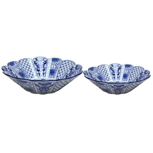 Blue and White Scallop Bowls