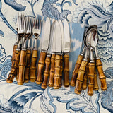 18 Piece Real Bamboo Entree Sized Cutlery Set