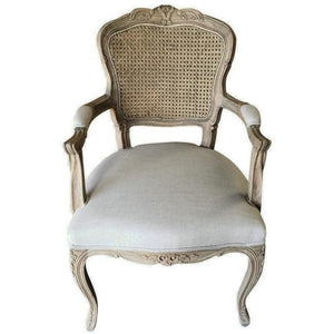 JASIE RATTAN BACK FABRIC ARMCHAIR
