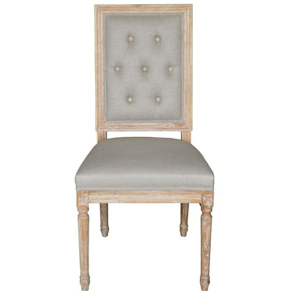 FRENCH SQUARE TUFTED FABRIC SIDE CHAIR