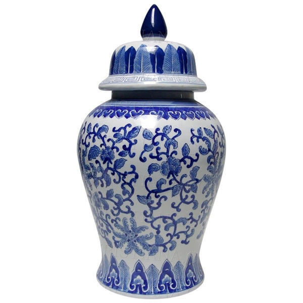 Blue and White Temple Jar Lotus