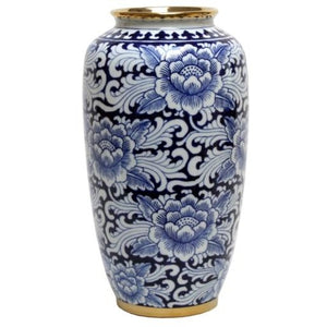 Blue and White Floral Vase