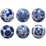 Set of Blue and White Botanic Balls
