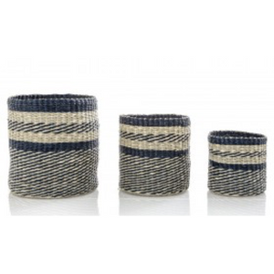 Set of 3 Blue Striped Baskets