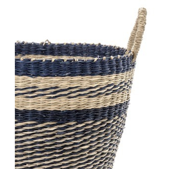 Pair Blue Striped Baskets with Handles