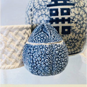 Blue and White Sea Urchin Ceramic Trinket