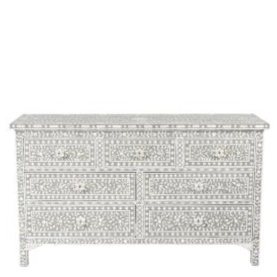 MOP Inlay 7-Drawer Chest - Floral Grey