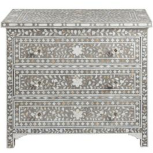 Shalimar Mother of Pearl Inlay 3-Drawer Chest - Floral Grey