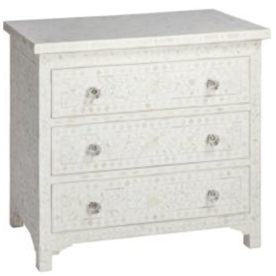 Bone Inlay 3-Drawer Chest - Floral White