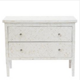 Bone Inlay 2-Drawer Chest - Geometric White