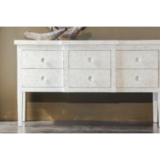 Bone Inlay 6-Drawer Console - Geometric White
