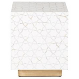 Atlas Mother of Pearl Inlay Side Table White