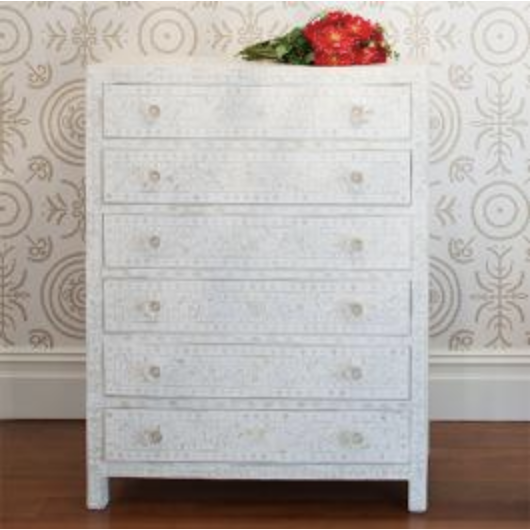 Bone Inlay 6-Drawer Tallboy - Floral White