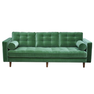 Evie 3 Seat Sofa in Green Velour
