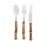 18 Piece Real Bamboo Main Sized Cutlery Set