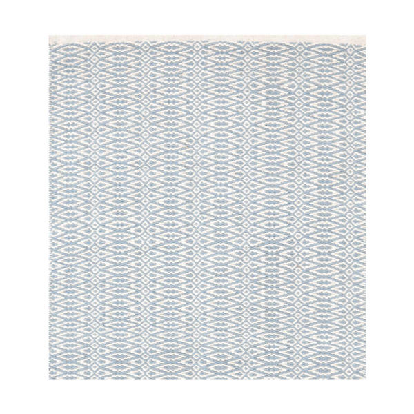 Fair Isle French Swedish Blue/Ivory Woven Cotton Rug
