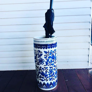 Blue and white ceramic umbrella stand