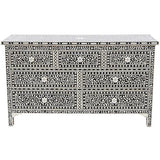 Bone Inlay 7-Drawer Chest - Floral