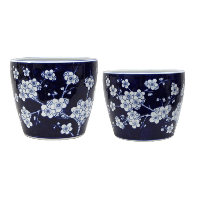 Planter Blue and White Blossom 2 Sizes