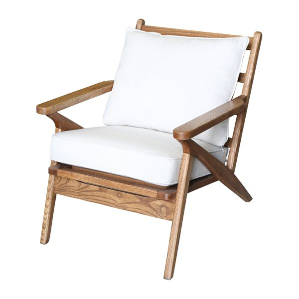 Ash Wood Chair with White Cushions