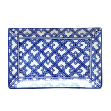Plate Blue and White Rectangle #1